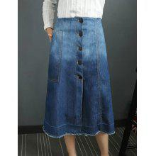 Stylish Women's Bleach Wash Buttoned Denim Skirt