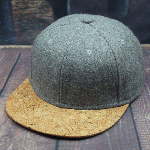 Stylish Wood Grain Pattern Brim Men's Felt Baseball Cap - LIGHT GRAY