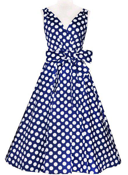 Vintage Polka Dot PrintedV-Neck Sleeveless Bowknot  Ball Gown Dress For Women - PURPLISH BLUE XS