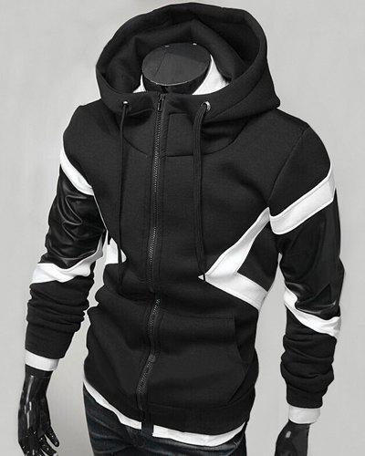 Hit Color PU Leather Spliced Triangle Pattern Front Pocket Drawstring Hooded Long Sleeves Men's Hoodie - BLACK M