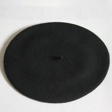 Chic Candy Color Faux Wool Women's Winter Beret - BLACK