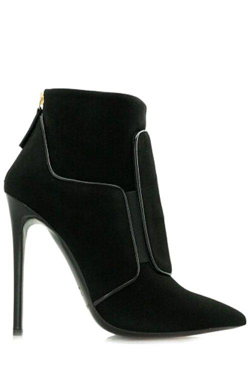 Stylish Solid Color and Pointed Toe Design High Heel Boots For Women - BLACK 38