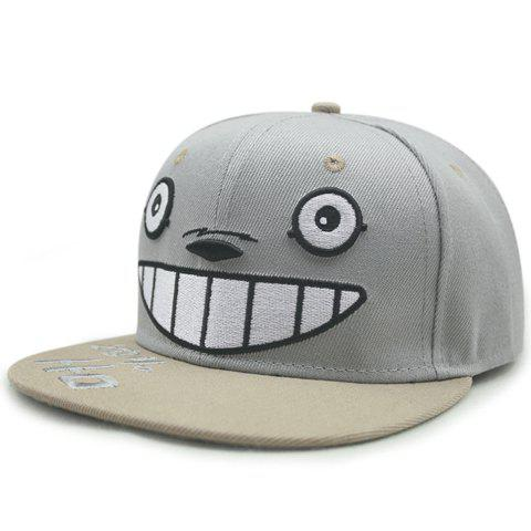 Chic Cartoon Eyes Nose Teeth Embroidery Light Gray Baseball Cap For Women