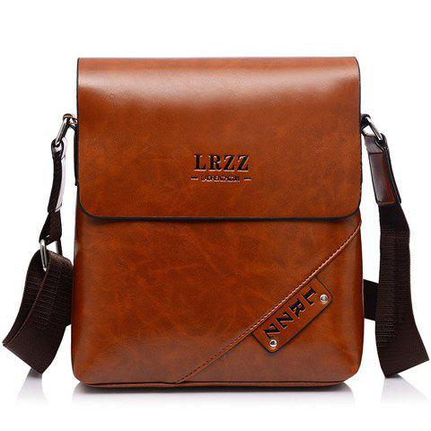 Fashion Letter Print and PU Leather Design Messenger Bag For Men - LIGHT BROWN
