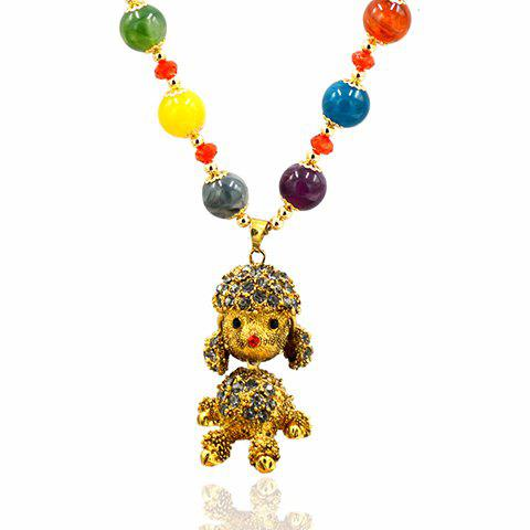 Chic Faux Agate Round Bead Figure Shape Sweater Chain For Women - GOLDEN