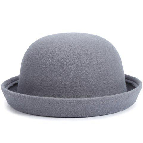 Chic Various Candy Color Flanging Women's Felt Bowler Hat - LIGHT GRAY