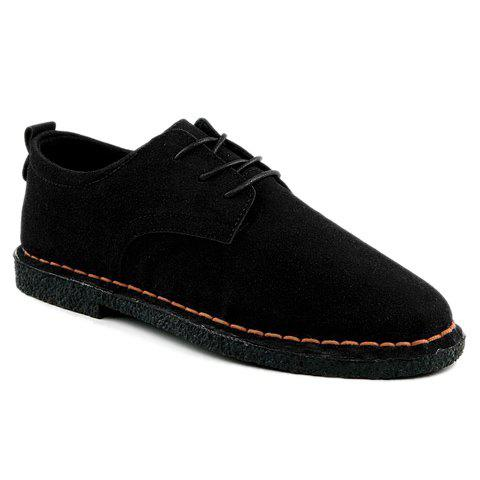 Fashionable Solid Color and Suede Design Men's Casual Shoes - 44 BLACK