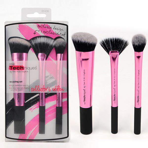 Durable 3 Pcs Aluminum Tube Fiber Facial Makeup Brushes Set - ROSE