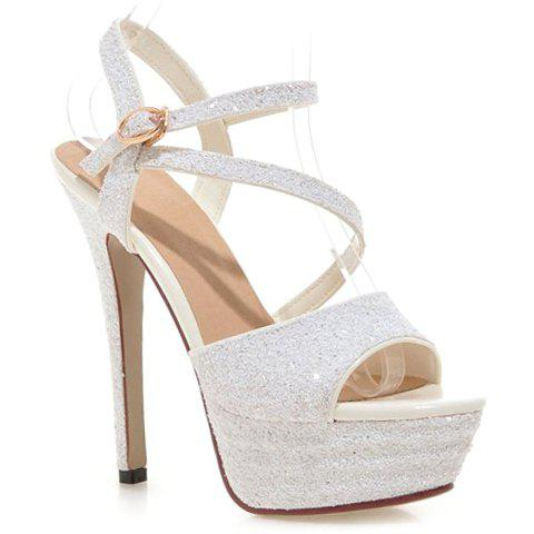 Fashionable Sequins and Platform Design Sandals For Women - WHITE 37