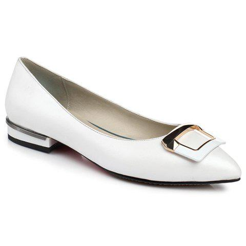 Fashion Metal and PU Leather Design Flat Shoes For Women - WHITE 35