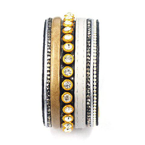 Chic Faux Leather Rhinestone Chunky Bracelet For Women