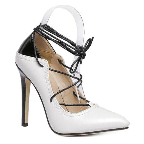 Stylish Color Block and Tie Up Design Pumps For Women - WHITE 36