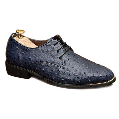 Stylish Solid Color and Lace-Up Design Men's Formal Shoes - BLUE 44