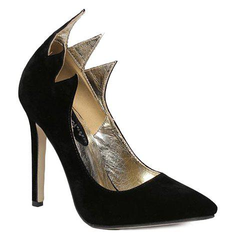 Fashion Solid Color and Suede Design Pumps For Women - BLACK 36