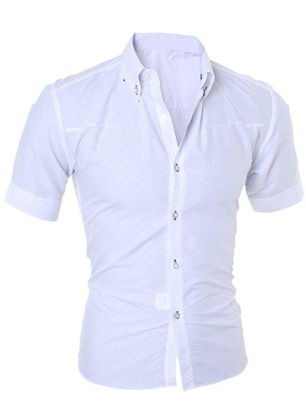 Simple Style Turn-Down Collar Solid Color Short Sleeve Slimming Men's Shirt - WHITE 3XL