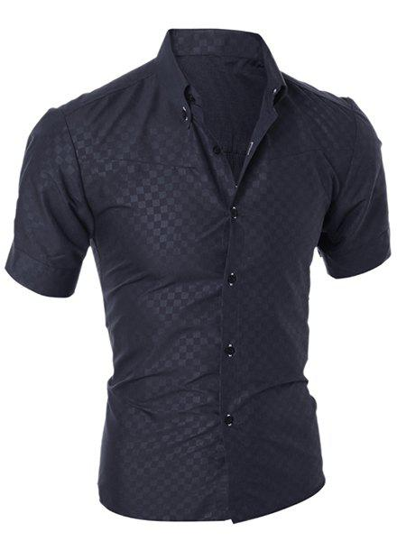 Simple Style Turn-Down Collar Solid Color Short Sleeve Slimming Men's Shirt - BLACK M