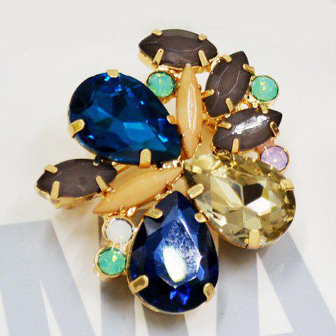 Chic Faux Crystal Floral Shape Brooch For Women - BLUE