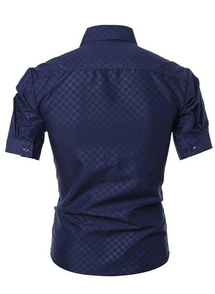 Simple Style Turn-Down Collar Solid Color Short Sleeve Slimming Men's Shirt - CADETBLUE 3XL
