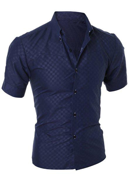 Simple Style Turn-Down Collar Solid Color Short Sleeve Slimming Men's Shirt - CADETBLUE M