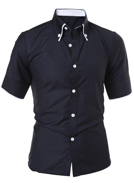 Solid Color Short Sleeve Button Down Shirt - BLACK L