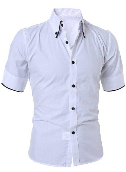 Simple Style Turn-Down Collar Solid Color Short Sleeve Slimming Men's Button-Down Shirt