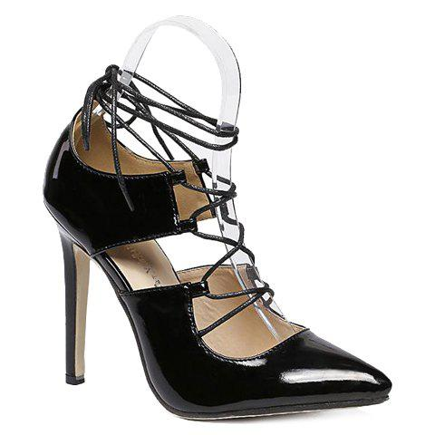 Stylish Lace-Up and Patent Leather Design Pumps For Women - BLACK 36