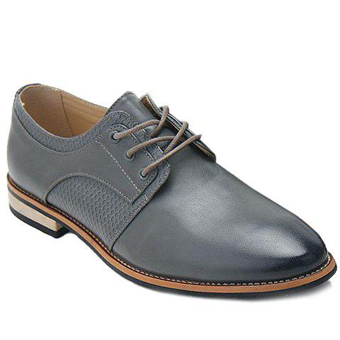 Trendy Embossing and PU Leather Design Men's Casual Shoes - GRAY 40
