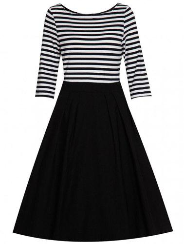 Elegant Round Collar 3/4 Sleeve Stripe Splicing Womens DressWomen<br><br><br>Size: M<br>Color: WHITE AND BLACK