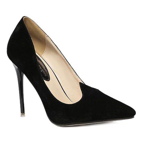 Elegant Flock and Pointed Toe Design Pumps For Women