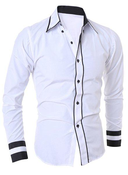 Simple Style Turn-Down Collar Color Block Splicing Long Sleeve Men's Shirt от Dresslily.com INT