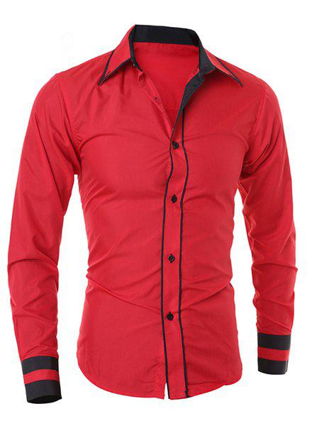 Simple Style Turn-Down Collar Color Block Splicing Long Sleeve Men's Shirt - RED L