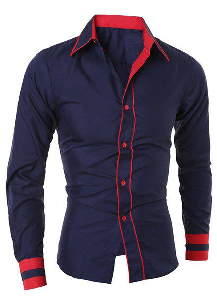 Simple Style Turn-Down Collar Color Block Splicing Long Sleeve Men's Shirt - CADETBLUE M