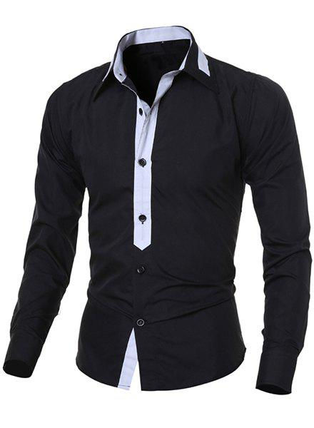 Casual Turn-Down Collar Color Block Spliced Long Sleeve Men's Shirt - BLACK M