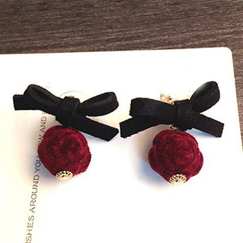 Pair of Cute Bowknot Lint Ball Earrings For Women - WINE RED