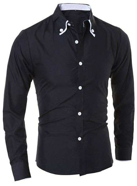 Casual Turn-Down Collar Color Block Purfled Long Sleeve Men's Button-Down Shirt - BLACK 2XL
