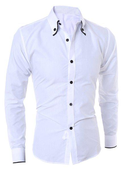 Casual Turn-Down Collar Color Block Purfled Long Sleeve Men's Button-Down Shirt - WHITE XL