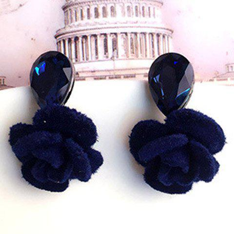 Pair of Noble Faux Crystal Water Drop Floral Earrings For Women