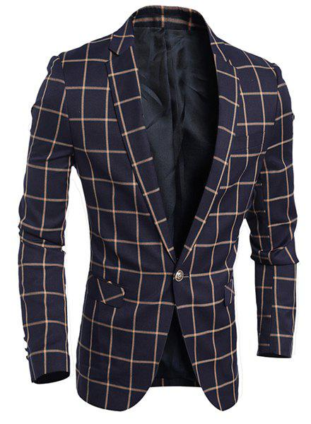 Turn-Down Collar Flap Pocket Plaid Print Long Sleeve Men's Blazer - CADETBLUE XL