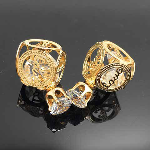 Pair of Chic Rhinestone Hollow Out Cube Shape Valentine's Day Gift Earrings For Women