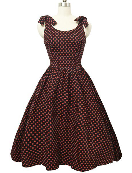Graceful Bowknot Strappy Sleeveless Full Polka Dot Women's Ball Gown Dress - RED S