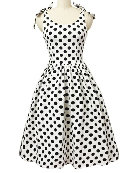Graceful Bowknot Strappy Sleeveless Polka Dot Women's Ball Gown Dress - WHITE S