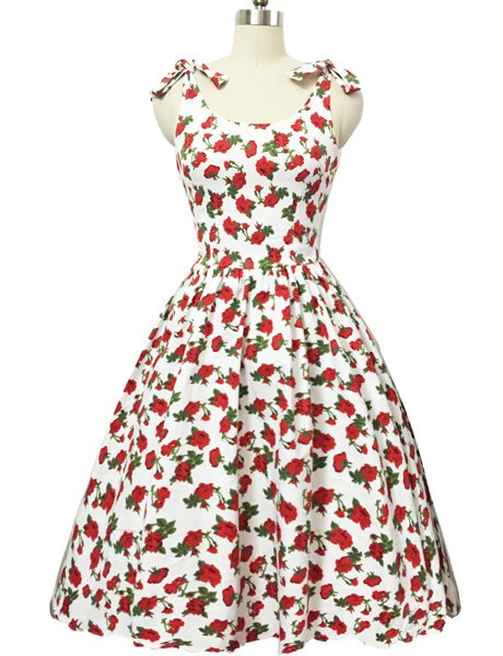Graceful Bowknot Strappy Sleeveless Floral Print Women's Ball Gown Dress - WHITE 2XL
