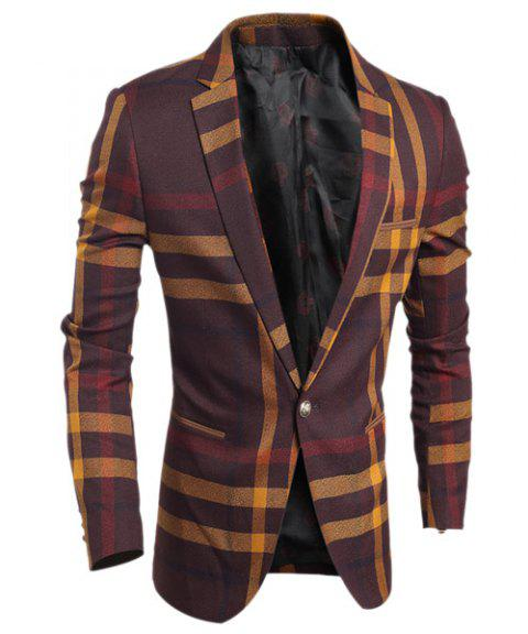 Turn-Down Collar Color Block Tartan Print Long Sleeve Men's Blazer - WINE RED L