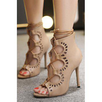 Point Heel Lace Up Cut Out Sandals - 39 39