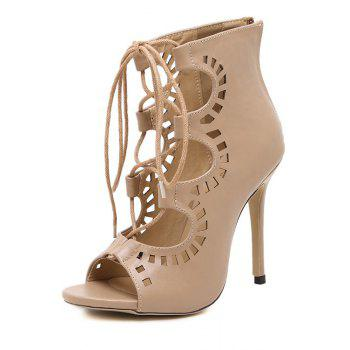 Point Heel Lace Up Cut Out Sandals - NUDE 39