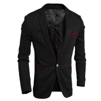 Elegant Turn-Down Collar Color Block Purfled Pocket Long Sleeve Men's Blazer