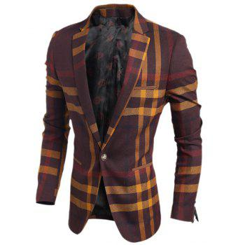 Turn-Down Collar Color Block Tartan Print Long Sleeve Men's Blazer - L L