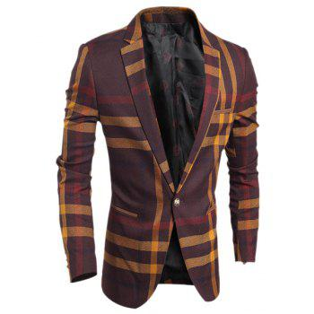Turn-Down Collar Color Block Tartan Print Long Sleeve Men's Blazer