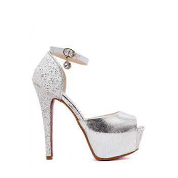 Sexy Ankle Strap and Sequins Design Peep Toe Shoes For Women