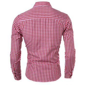 Casual Slimming Turn-Down Collar Pliad Print Long Sleeve Men's Shirt - RED M